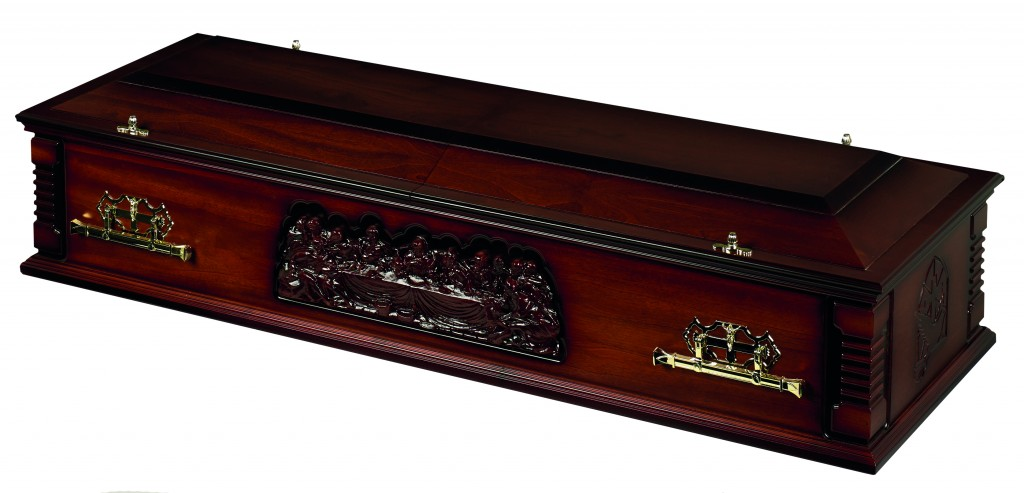 Religious Carved Casket Available at G E O'Driscoll and Daughters