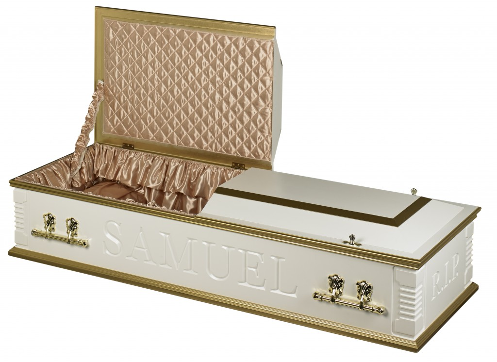Casket split lid white gold two tone
